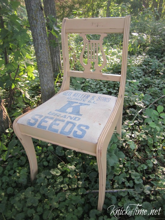 repurposed seed bag chair - KnickofTime.net