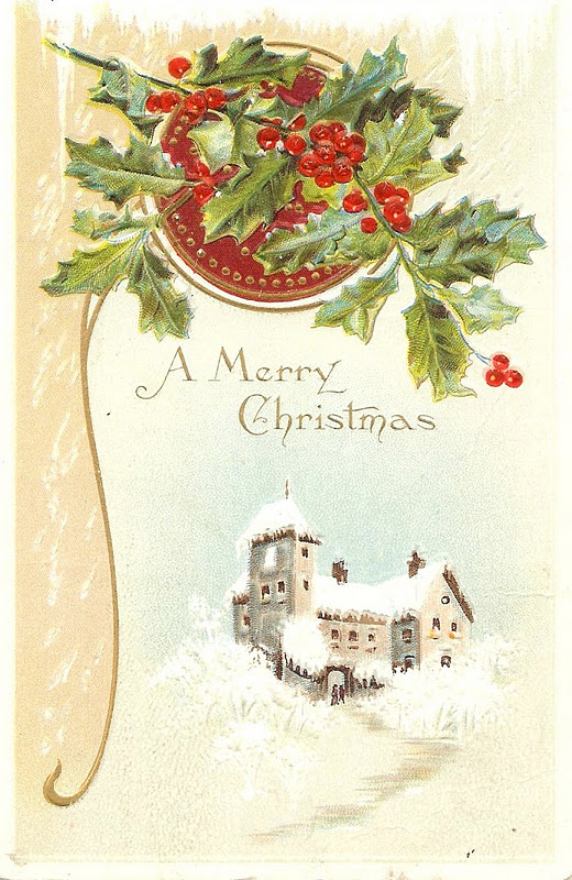 Antique Christmas Postcard with holly berries