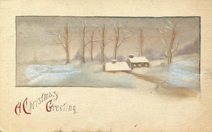 Antique Christmas Postcard snowy woods farmhouse Christmas