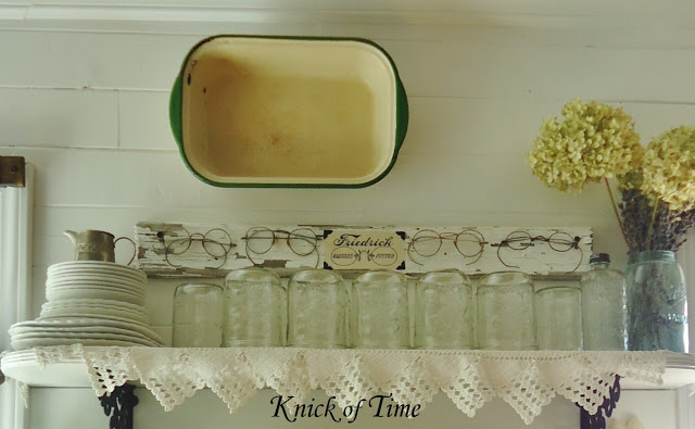Farmhouse Kitchen Open Shelves Antique Eyeglasses Spectacles Ball Jars - www.knickoftime.net