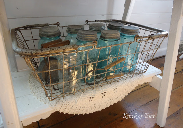 Farmhouse Kitchen Open Shelves with Wire Basket of Ball Jars - www.knickoftime.net
