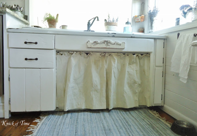 Farmhouse Kitchen Sink Feed Sack Curtains - www.knickoftime.net