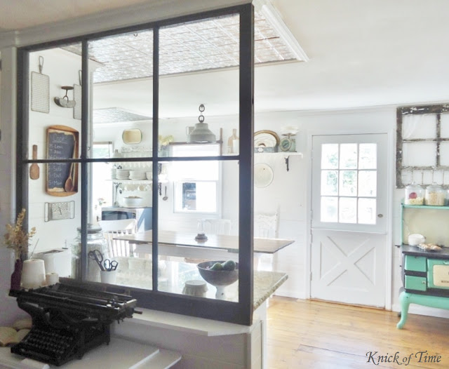 Repurposed Window Farmhouse Kitchen - www.KnickofTime.net