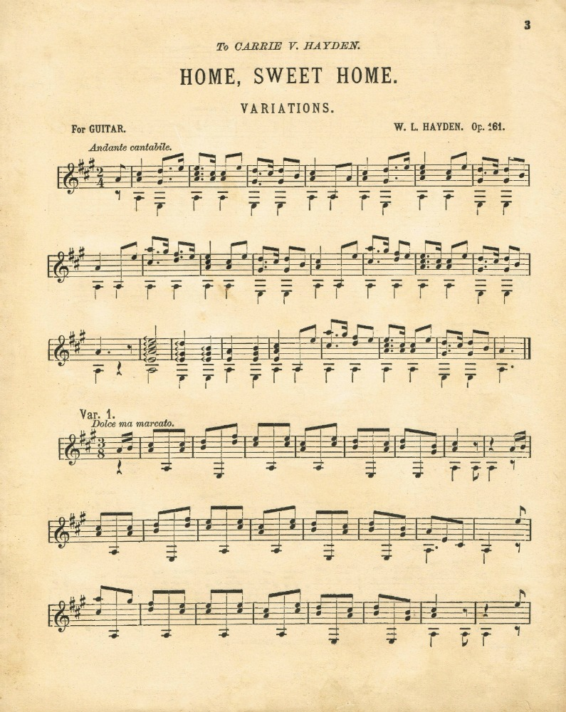 Home Sweet Home Antique Sheet Music Printable - KnickofTime.net