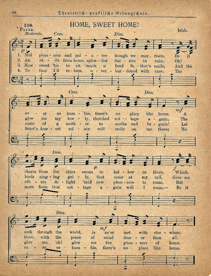 Home Sweet Home sheet music printable from Knick of Time