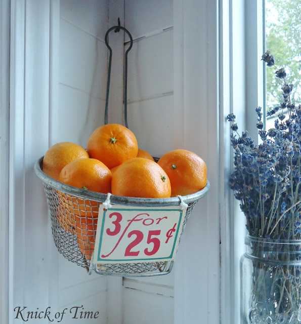 Repurposed Vintage Wire Baskets as Wall Fruit Baskets in Farmhouse Kitchen - www.knickoftime.net