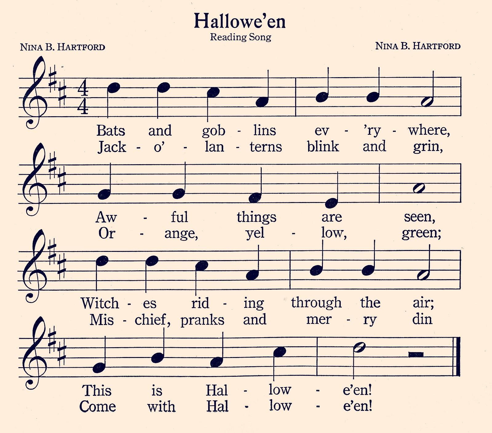 Halloween song Sheet Music Printable