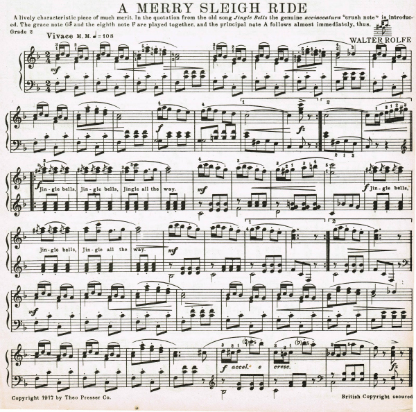Jingle Bells Sleigh Ride Sheet Music printable - KnickofTime.net
