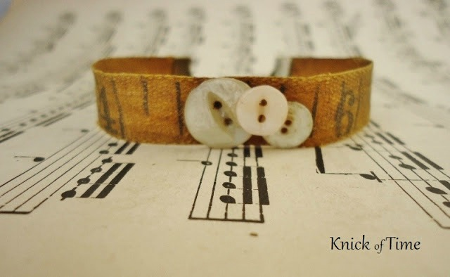 Repurposed Tape Measure and Button Bracelets by Knick of Time
