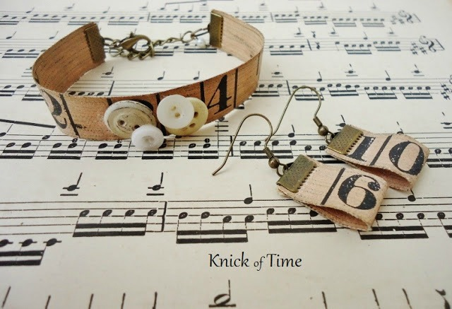 Repurposed Tape Measure and Button Bracelets by Knick of Time | knickoftime.net