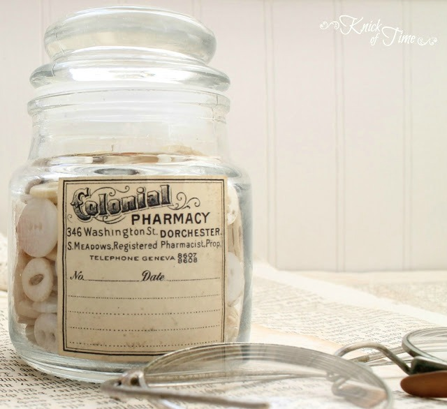 DIY Apothecary Jars with Free Printable Labels   www.knickoftime.net