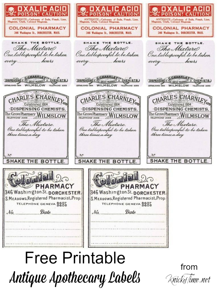 picture regarding Free Printable Vintage Apothecary Labels known as Antique Graphics Wednesday - Basic Pharmacy Labels Knick