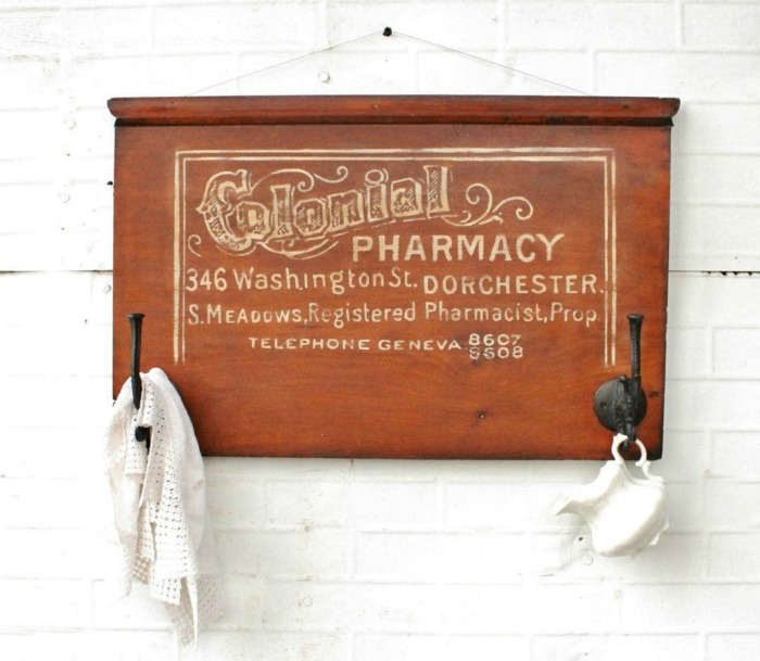 Antique Graphics Colonial Pharmacy Sign Apothecary Sign on Salvaged Wood