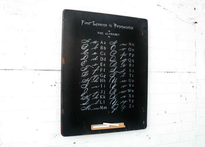 Antique school penmanship alphabet page repurposed DIY chalkboard by Knick of Time   www.knickoftime.net