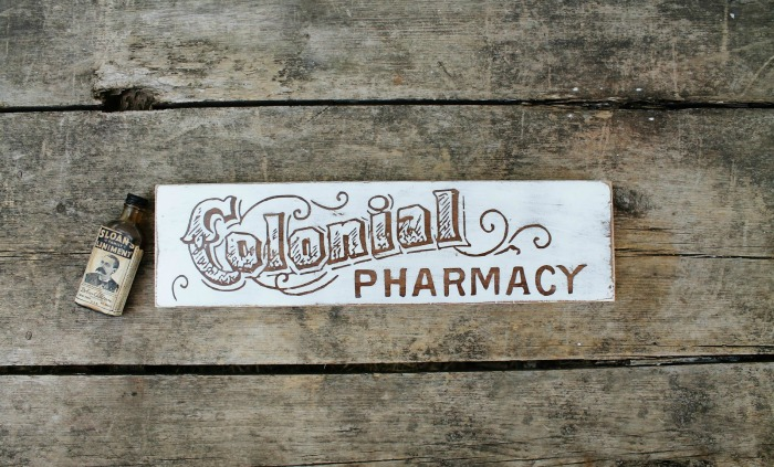 Antique Graphics Colonial Pharmacy Sign