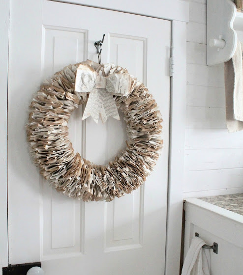 How to repurpose book pages to make a Book Pages Wreath