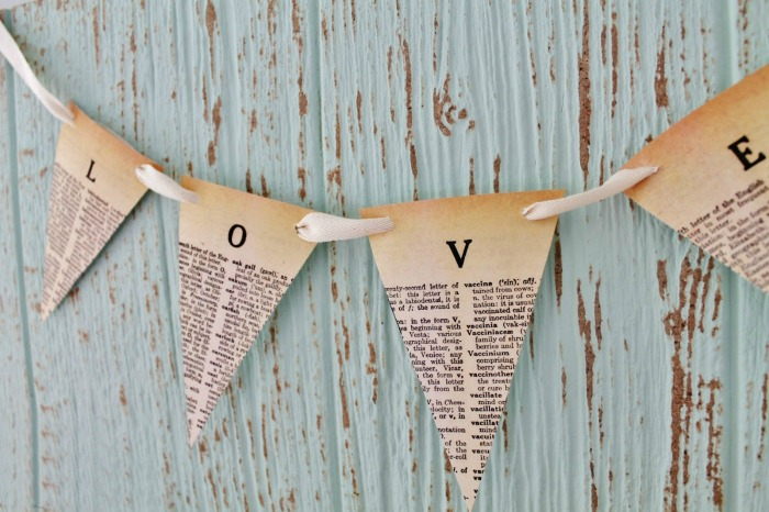 DIY Dictionary Page Pennant Banners