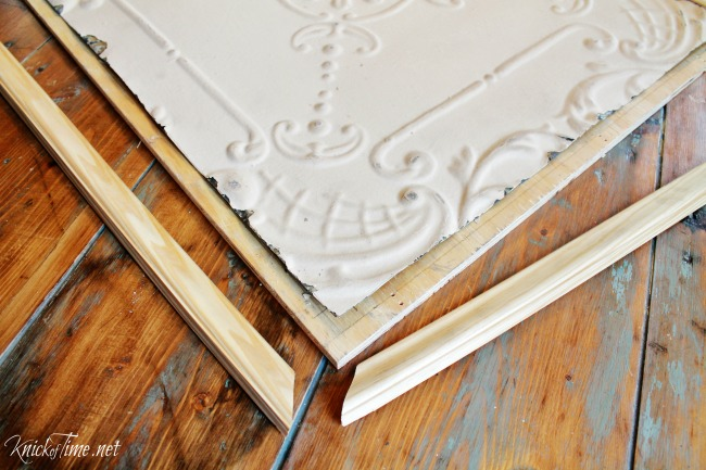 Dress up the front of kitchen cabinet doors with vintage style ceiling tiles - KnickofTime.net