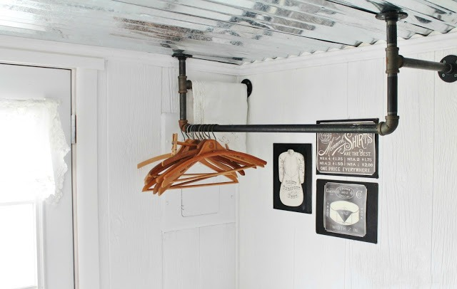 DIY industrial plumbing pipe laundry clothes hanger with vintage wooden hangers | www.knickoftime.net