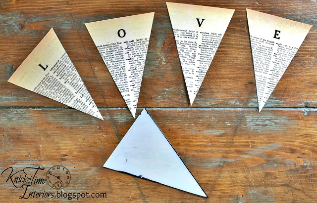 Dictionary Page Pennant Printable Banners - HOME, TIME, LOVE and NEST - Printable Tutorial | www.knickoftime.net