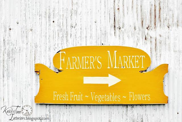 Farmer's Market Sign made out of an old headboard - www.knickoftime.net
