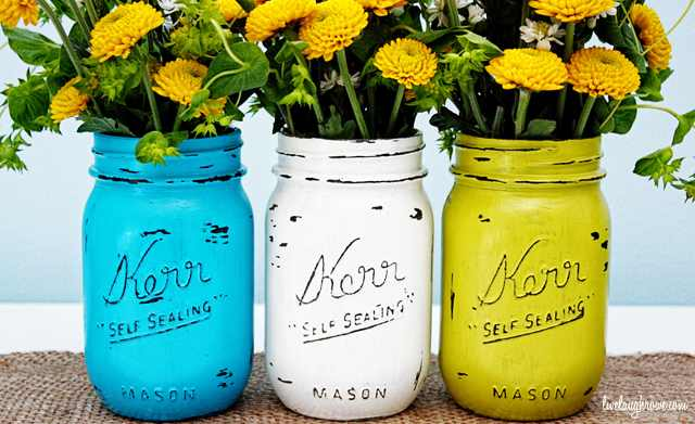 painted mason jars flower vases