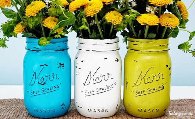 painted mason jars flower vases
