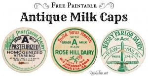 free printable antique milk bottle caps for DIY projects, mixed media and crafts - KnickofTime.net