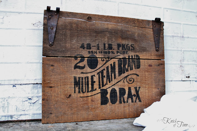 salvaged crate lid stenciled sign using Silhouette Cameo by - KnickofTime.net