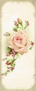 Antique Graphic Rose Image and Piano Advertisement