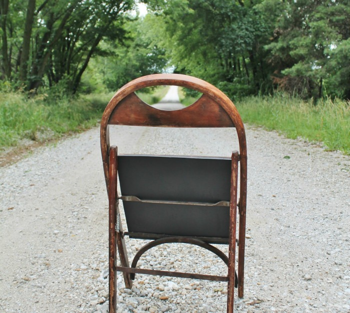 Repurposed antique folding chair sidewalk chalkboard by Knick of Time