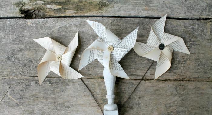 repurposed book page pinwheels
