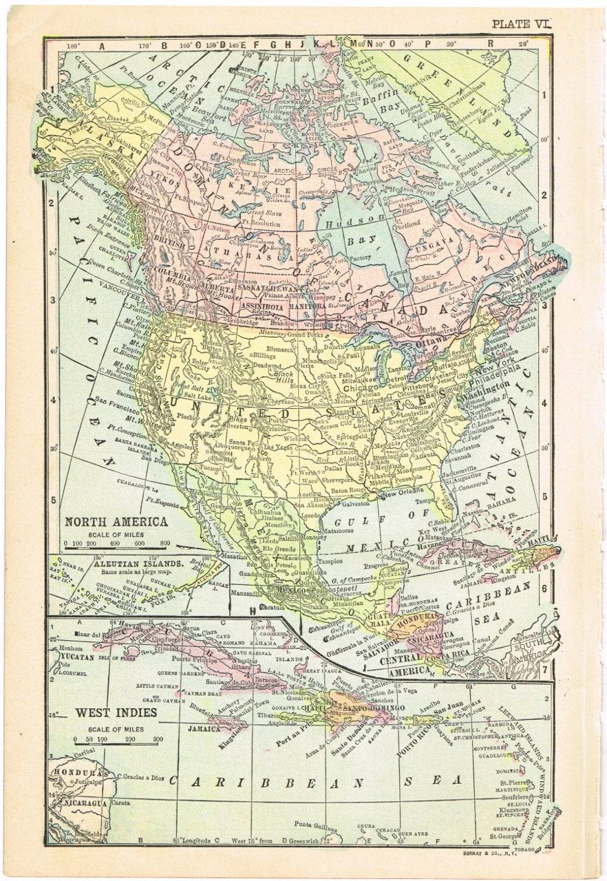 North America Antique Map