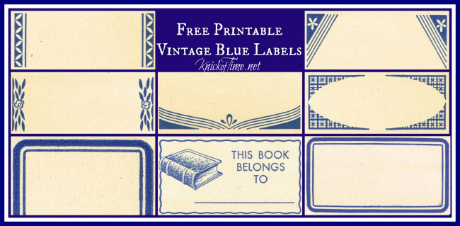 Vintage Blue Labels Printables