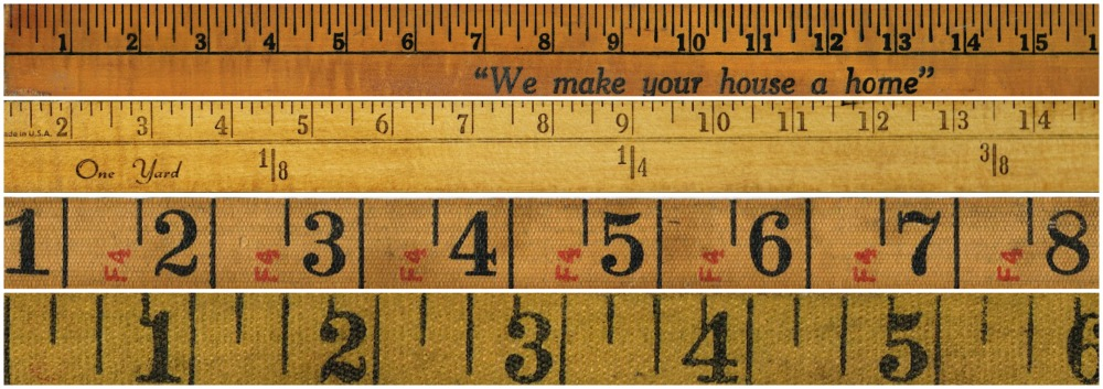 vintage rulers and vintage tape measures image collage - KnickofTime.net