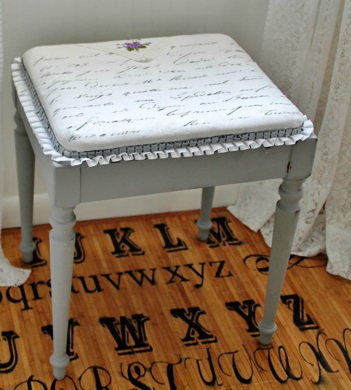 French Script Gray Chalk Paint Bench by Knick of Time