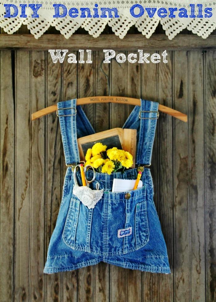 Fall Front Door Decor   Repurposed Denim Overalls Wall Pocket Alternative Wreath   www.knickoftime.net