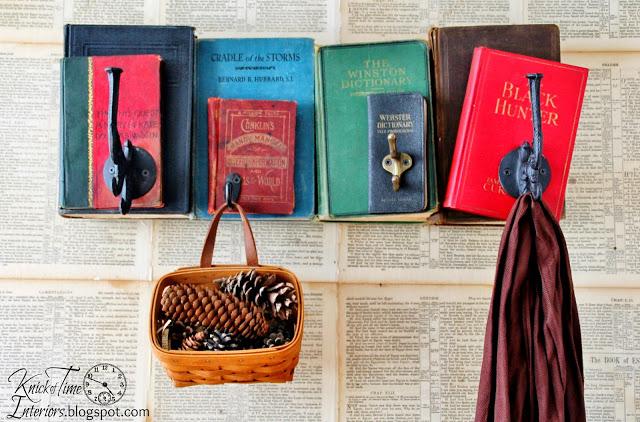 Repurposed Vintage Books Coat Rack Tutorial - www.knickoftime.net