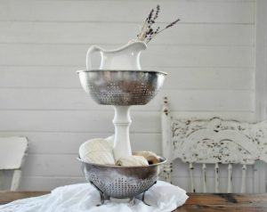 Repurposed Kitchen Strainer Tiered Stand by Knick of Time