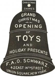 Advertisement Christmas Ornament: 1800's FAO Schwarz Bell