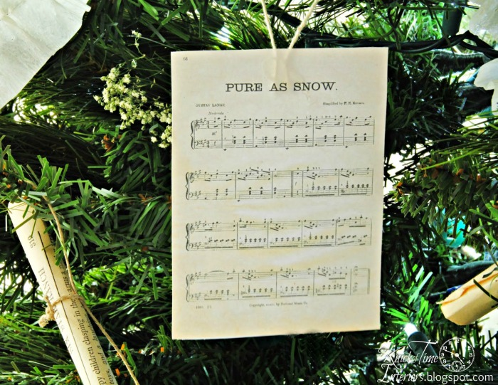 Antique Sheet Music Christmas Ornament via Knick of Time
