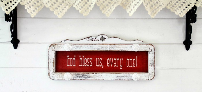 God Bless Us, Every One - A Christmas Carol Repurposed Salvaged Wood Sign by Knick of Time