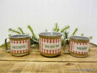 Repurposed Tin Measuring Cups Christmas Candle Holders