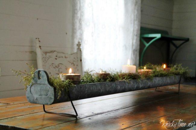 galvanized vintage chicken feeder candle centerpiece - KnickofTime.net