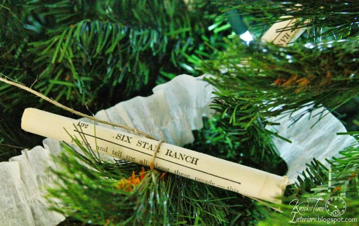 Repurposed book pages Christmas ornaments via Knick of Time | knickoftime.net