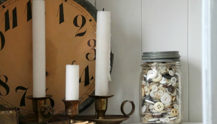 Antique Clock Face Buttons and Brass Candle Holders via Knick of Time