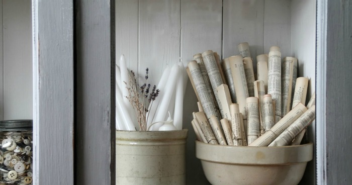 Antique Crocks and Bowls with Rolled Antique Book Pages via Knick of Time