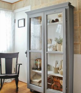 Repurposed Windows on Antique Style Cupboard by Knick of Time