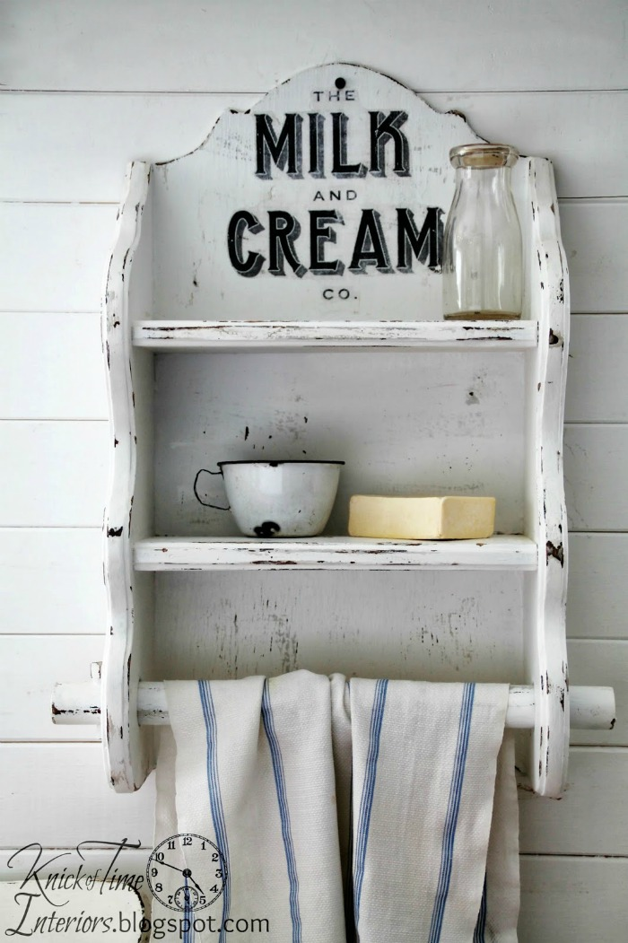 The Milk and Cream Co. Graphic Image Transfer on Vintage Wooden Kitchen Shelf by Knick of Time