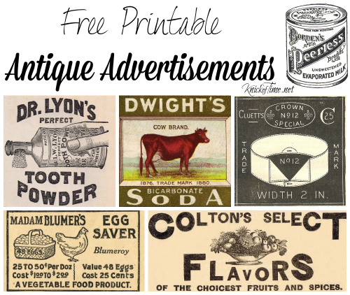 antique advertisements free printables